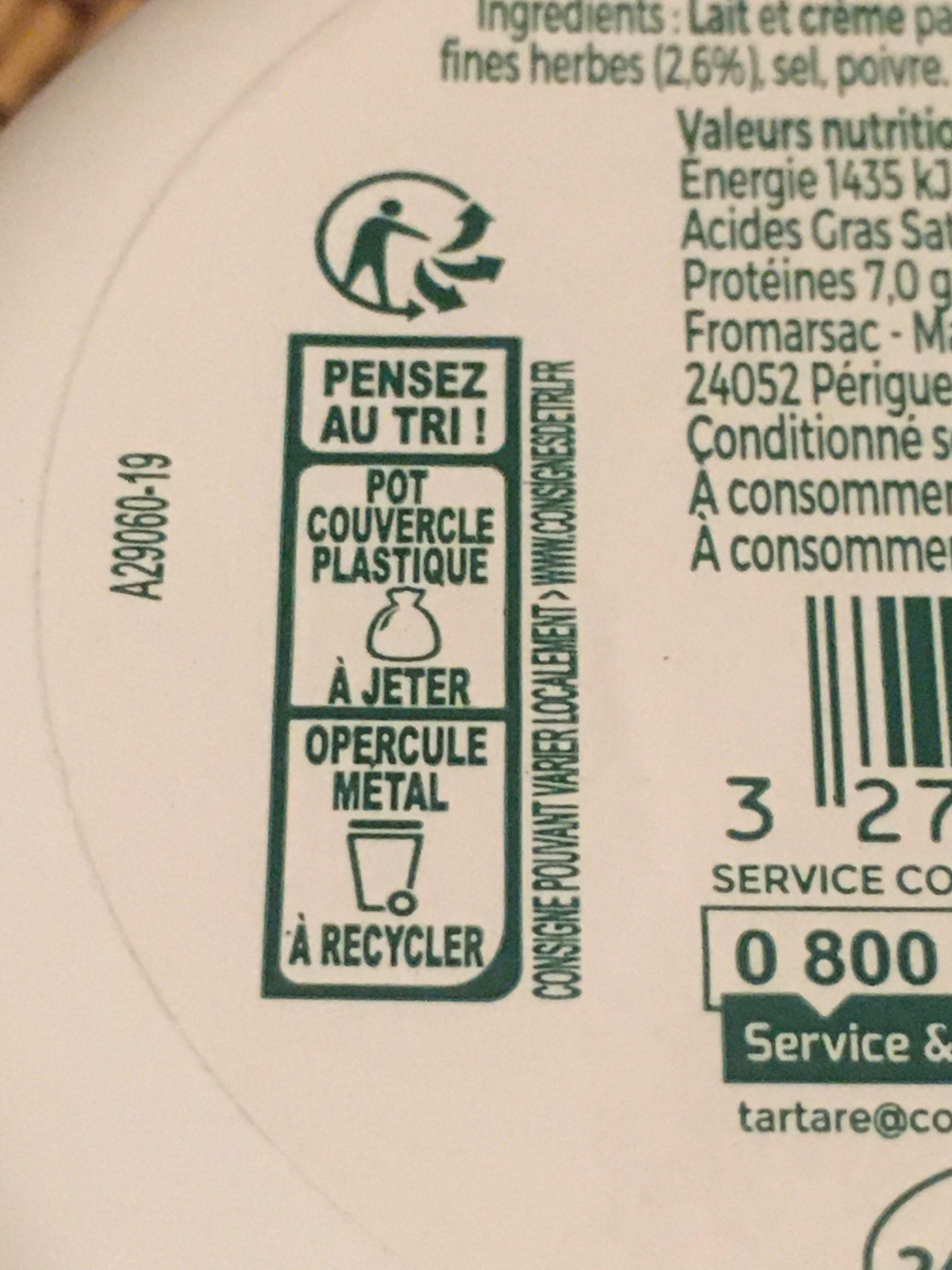 L'original tartare ail & fines herbes - Istruzioni per il riciclaggio e/o informazioni sull'imballaggio - fr