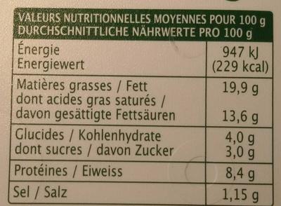 Tartare, Ail & Fines Herbes (Tartiner et Cuisiner) - (19,9 % MG) - Informations nutritionnelles