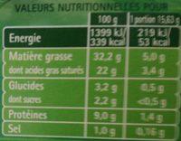 Tartare Ail & Fines herbes - Voedingswaarden - fr