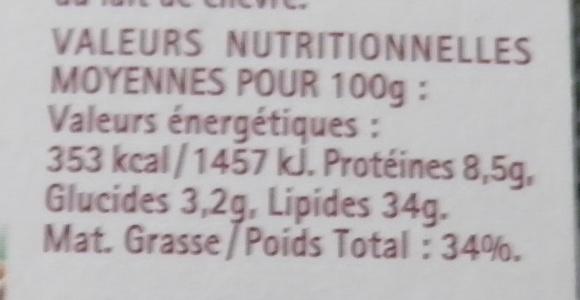 L'Original Tartare, Noix Croquantes (8 portions) - (34 % MG) - Nutrition facts - fr