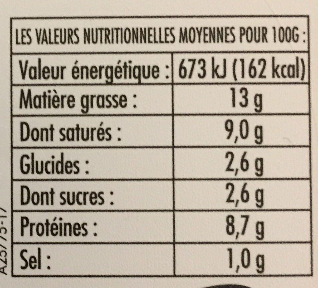 Pur Chèvre Familial - Informations nutritionnelles