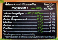 Le  goût primeur - Nutrition facts - fr