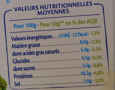 St Moret Léger - Voedingswaarden - fr