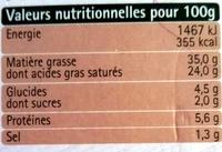 Tartare - Poivre & Fines Herbes - Informations nutritionnelles - fr