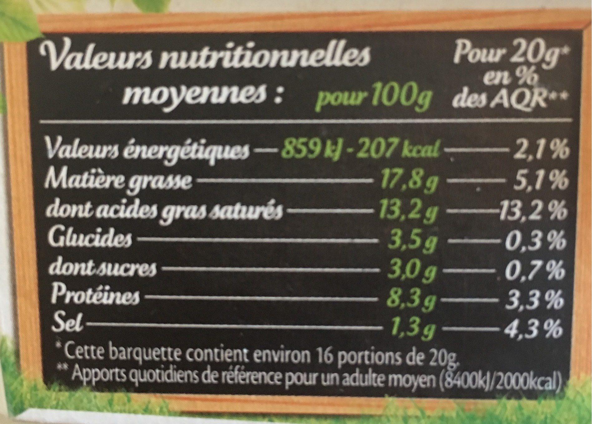 St-Môret - Informations nutritionnelles