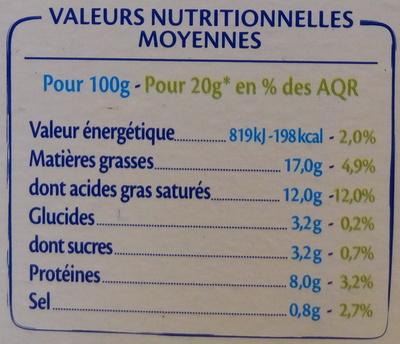 St Môret réduit en sel -25 % - Voedingswaarden - fr