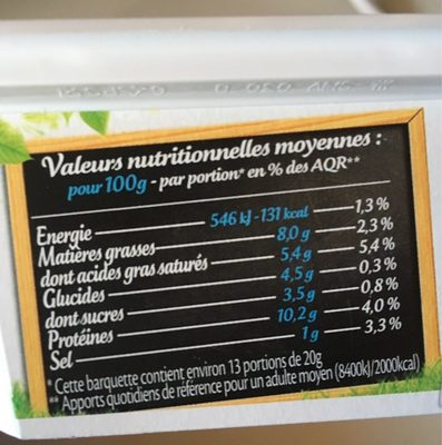 St Moret léger - format familial - Informations nutritionnelles - fr