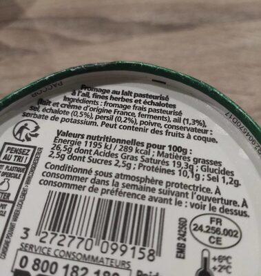 Le fouetté ail et fines herbes - Informations nutritionnelles - fr