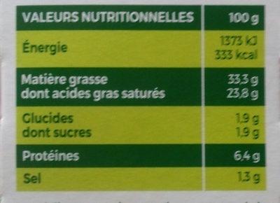 L'Original Tartare Ail doux - Informations nutritionnelles