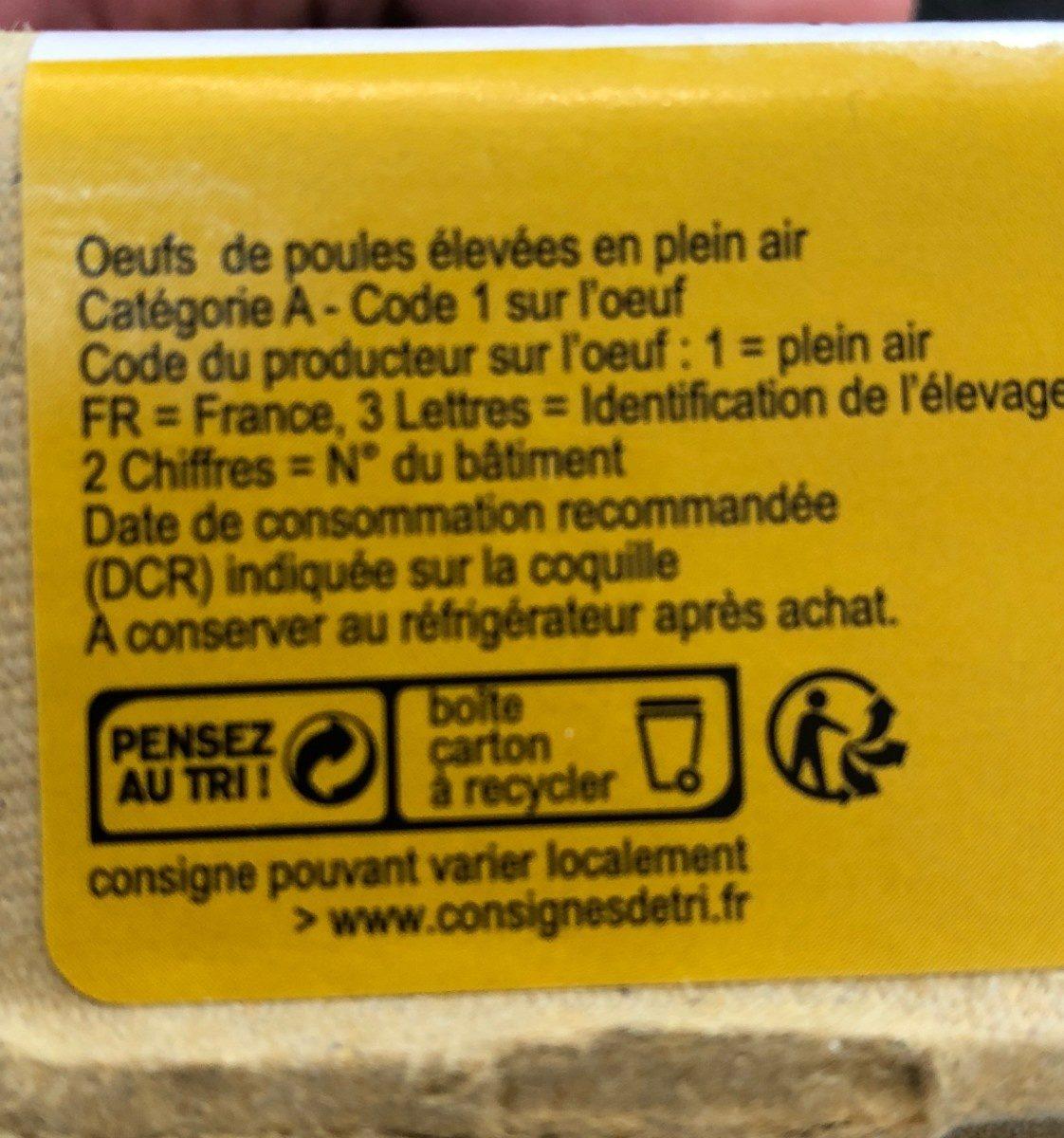 Œufs Label Rouge fermiers Très Gros Cocorette x6 - Ingredients