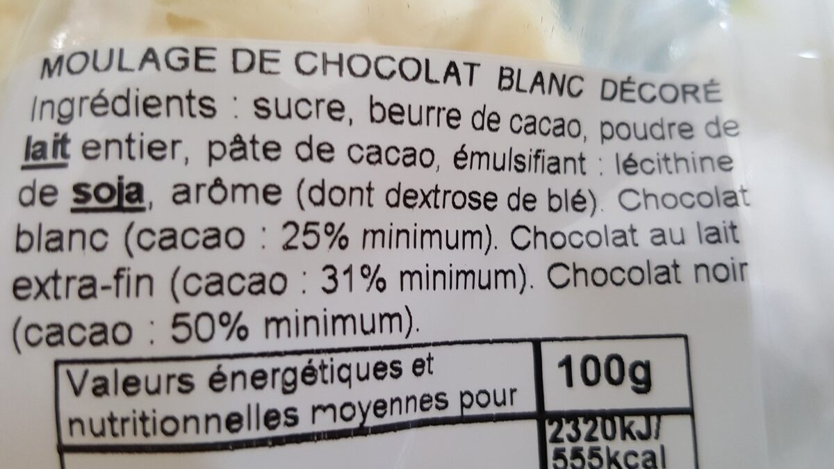 """Moulage """"Mouton Frisette"""" en chocolat blanc ROHAN - Ingrédients - fr"""
