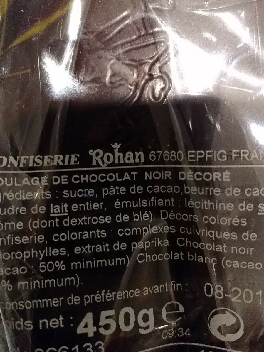 Œuf chocolat noir décoré - Ingredienti - fr