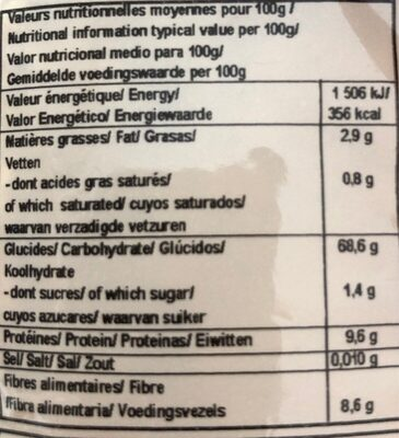 Flocons 5 Cereales - Nutrition facts - fr