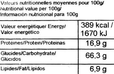 Petits flocons d'avoine - Informació nutricional