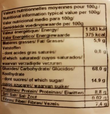 Muesli Étudiants Raisins - Pommes - Noisettes - Nutrition facts - fr