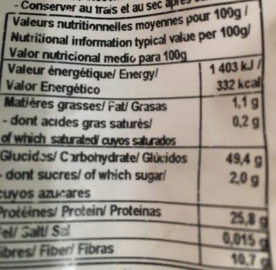 Lentillons de la Champagne - Voedingswaarden - fr