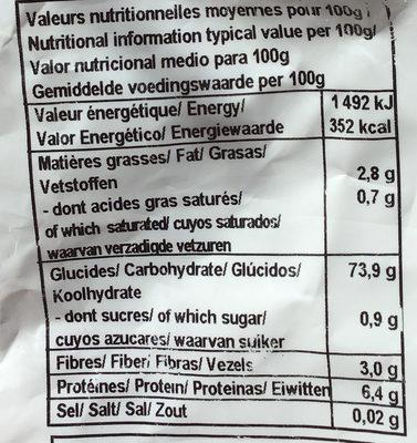 Farine de riz complet - Informations nutritionnelles