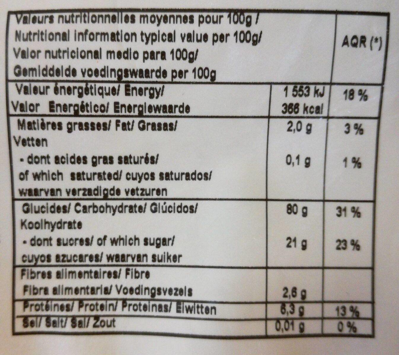 Riz soufflé enrobés de sirop de riz - Informations nutritionnelles - fr