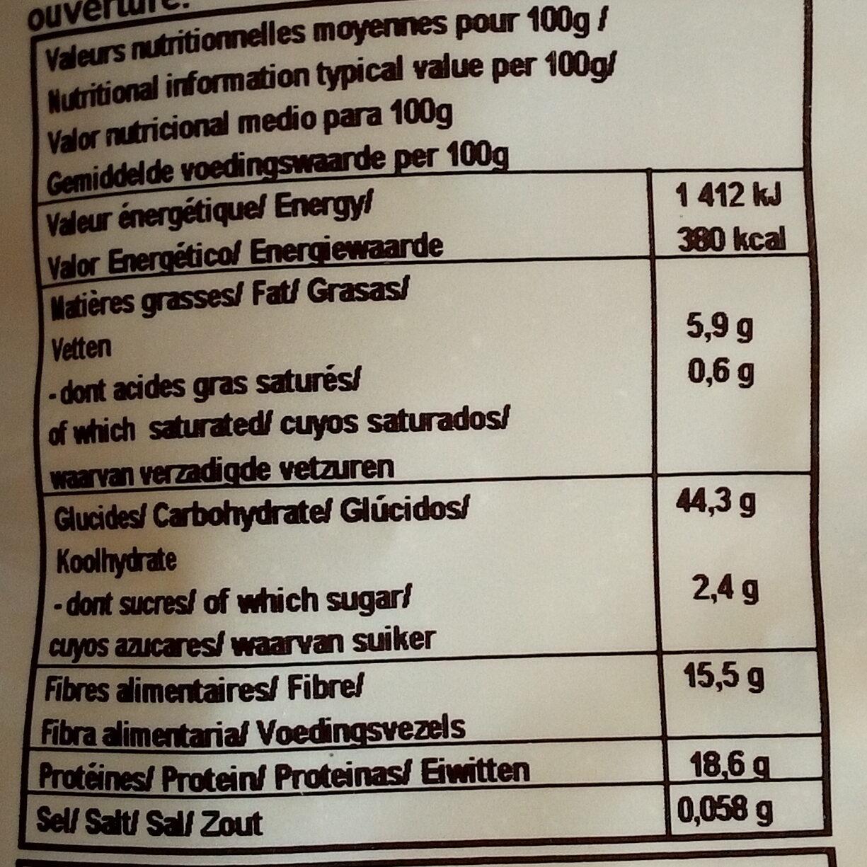Flocons De Pois Chiches - Informations nutritionnelles - fr
