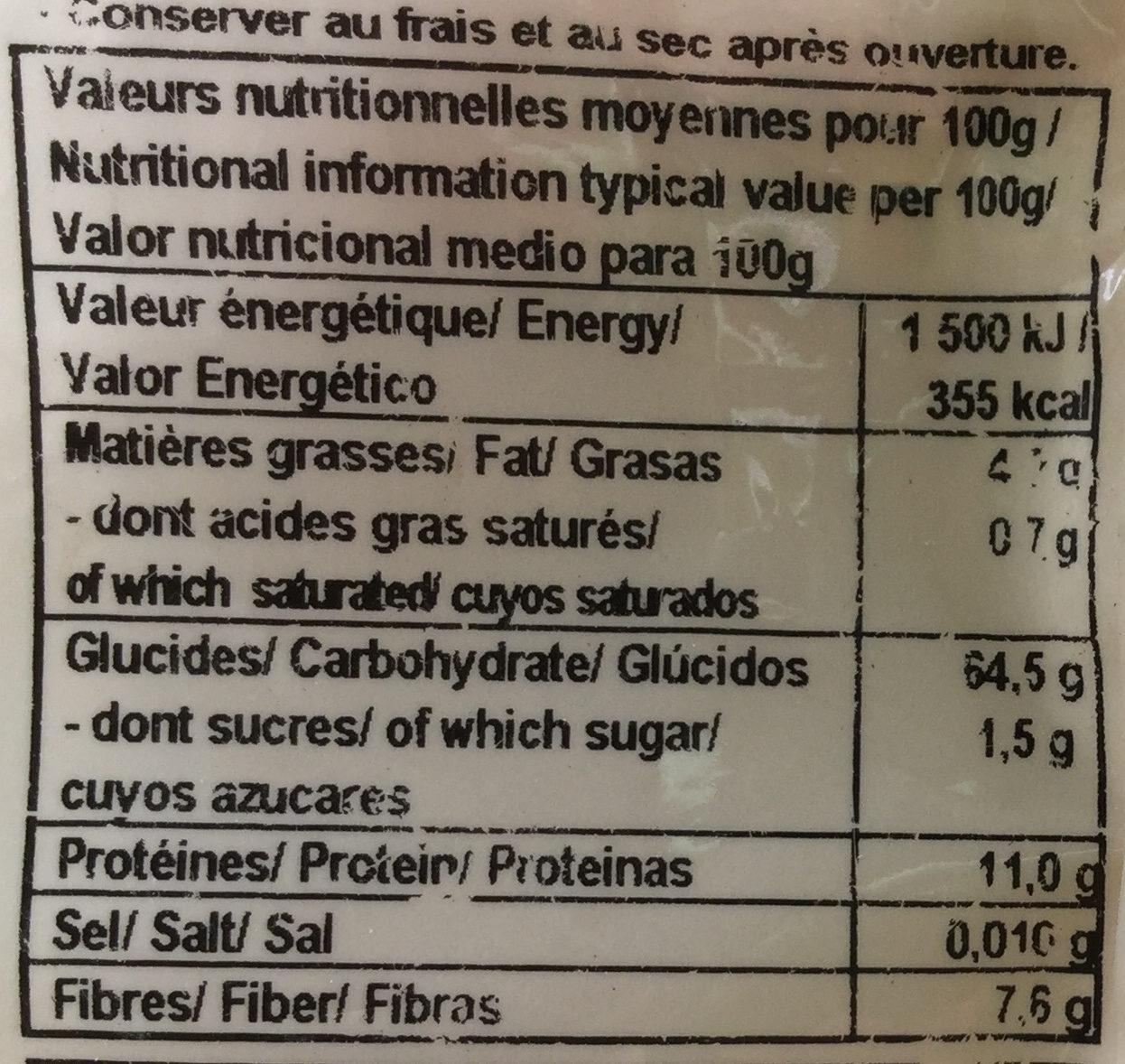 Millet flakes - Informations nutritionnelles