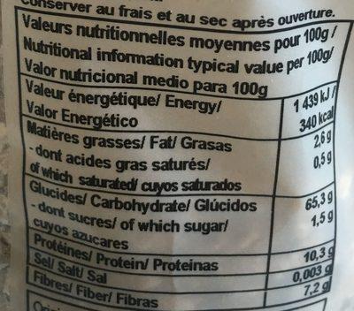 Flocons de sarrasin - Informations nutritionnelles