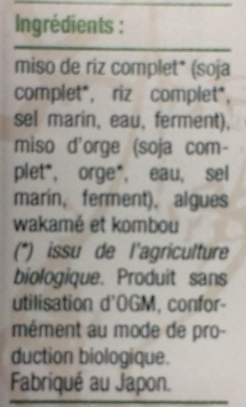 Soupe miso instantanée bio - Ingredients - fr