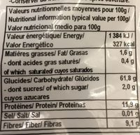 Farine Grand Epeautre Complete - Nutrition facts