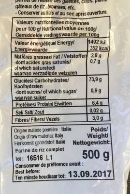 Farine de riz complet - Nutrition facts - fr
