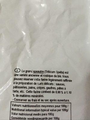 Farine bise de grand épeautre - Ingredients
