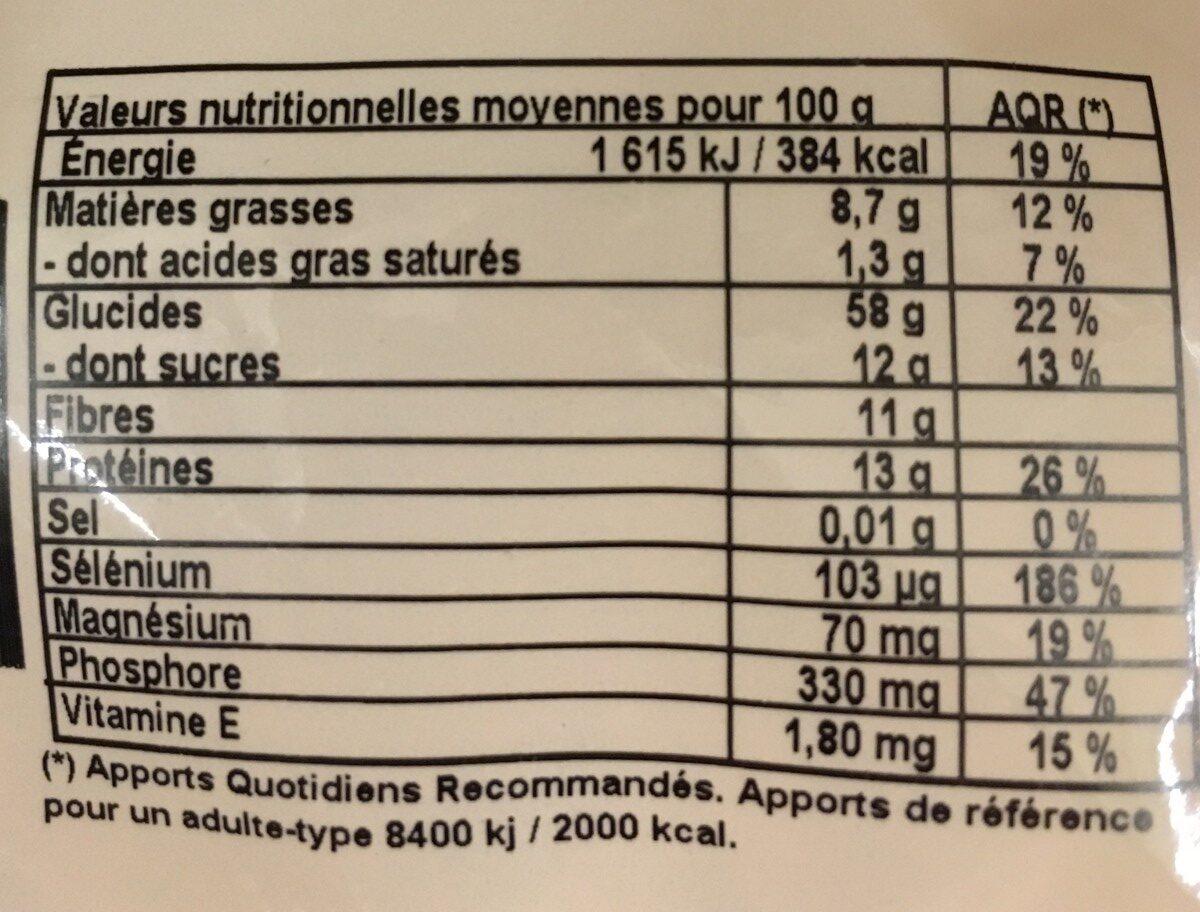 Muesli Antioxydant - céréales - Informations nutritionnelles - fr