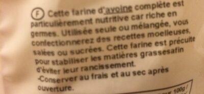 Farine d'Avoine complète - Ingredientes