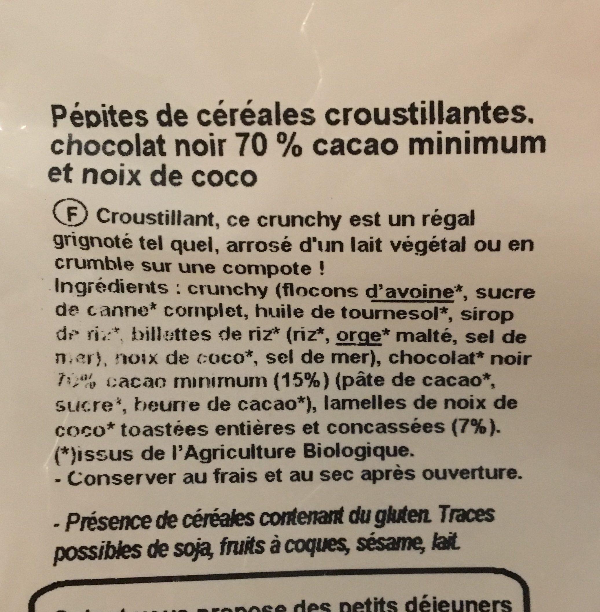 Crunchy chocolat coco - Ingrédients - fr