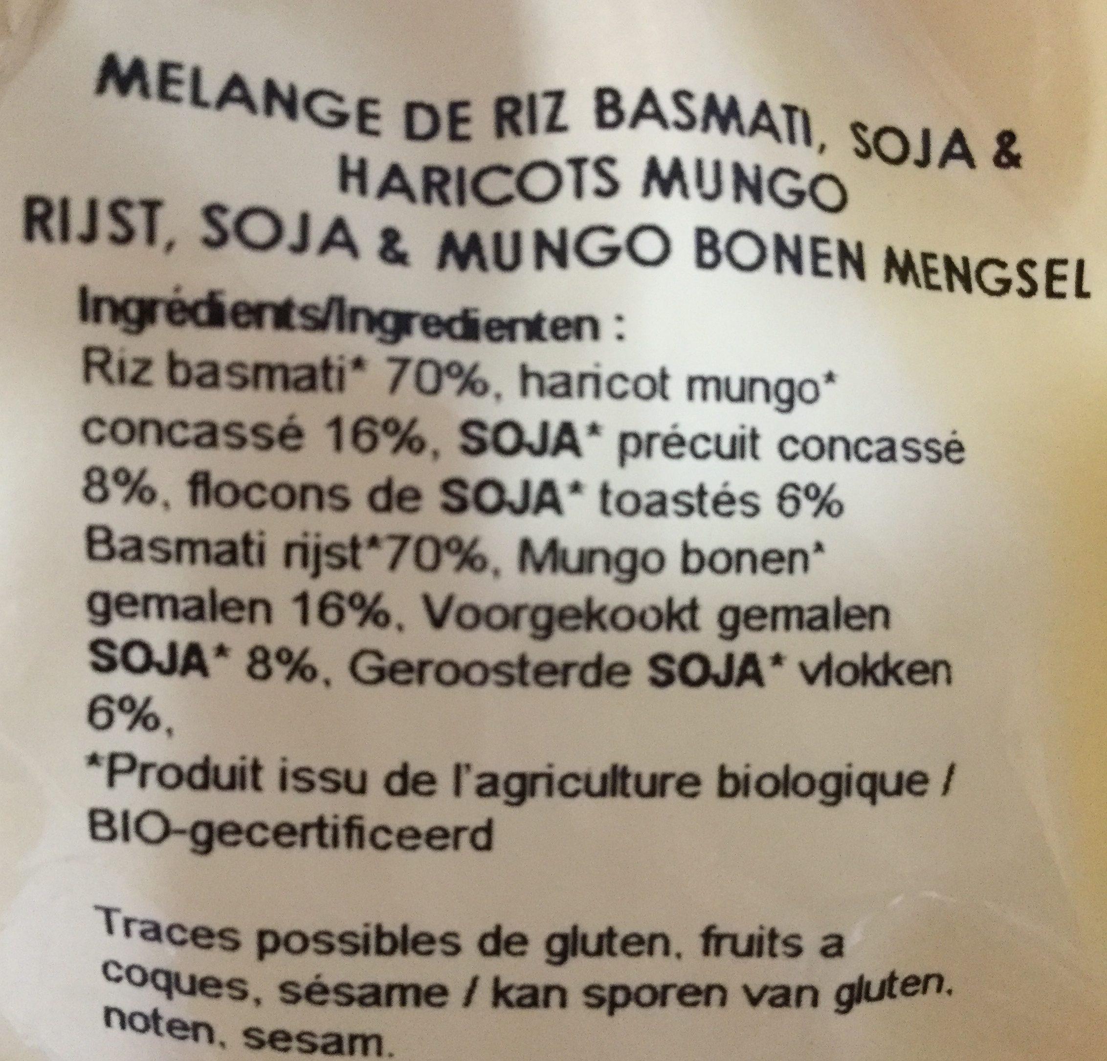 Riz basmati & deux sojas - Ingredients