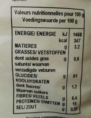 Riz basmati & deux sojas - Nutrition facts