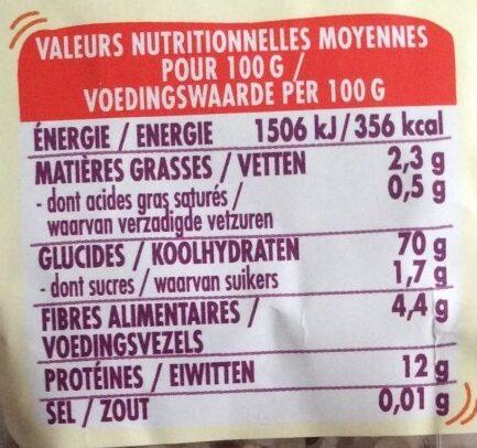 Basmati & duo de quinoa - Nutrition facts - fr