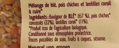 Blé-Pois chiches & lentilles corail - Ingrediënten - fr