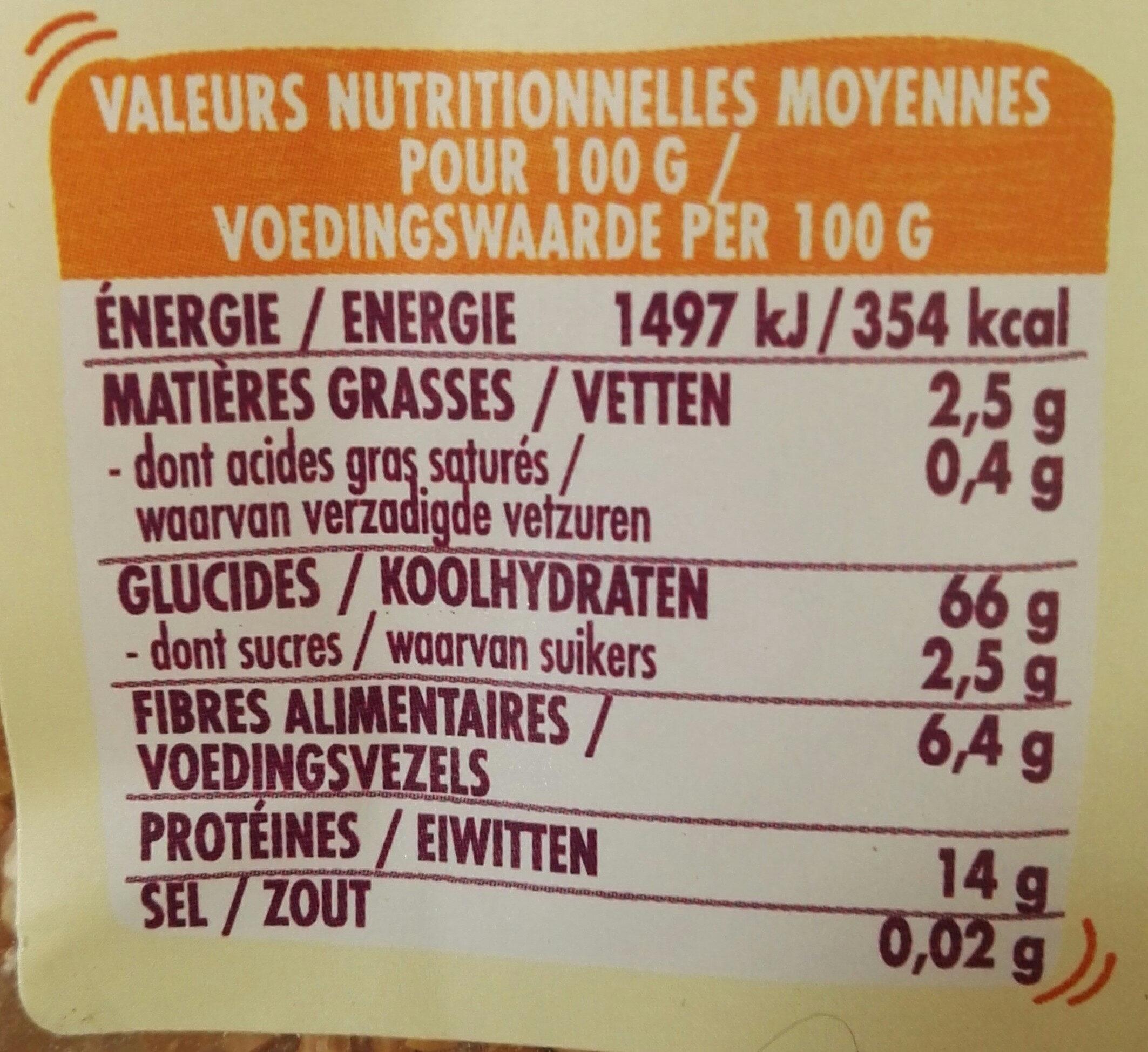 Blé-Pois chiches & lentilles corail - Voedingswaarden - fr