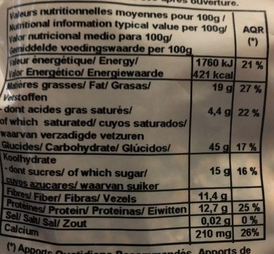 Muesli Extra Calcium - Informations nutritionnelles - fr