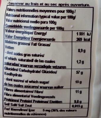 Porridge Fruits rouges Noisettes - Nutrition facts