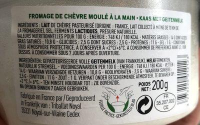 Fromage frais au lait pasteurisé de chèvre - Inhaltsstoffe
