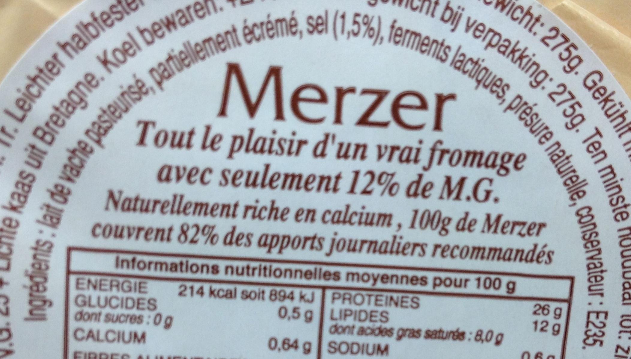 Merzer (12% MG) - Ingrédients - fr