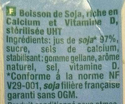 Boisson de soja Calcium + Vitamine D - Ingrédients