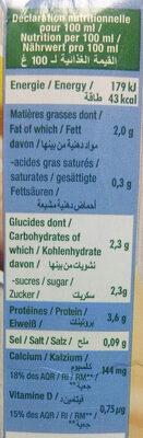 Boisson de soja Calcium + Vitamine D - Informations nutritionnelles