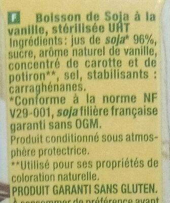 Boisson Soja Vanille - Ingredients - fr