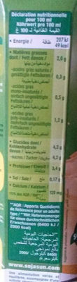 Boisson de soja, saveur Vanille - Información nutricional