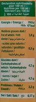 Soja vanille - Informations nutritionnelles - fr
