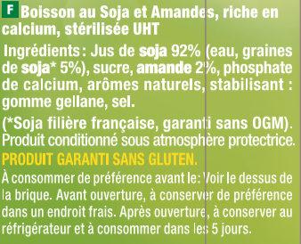 Boisson gourmande soja & amande - Ingredients