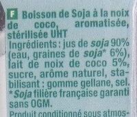 Soja et coco - Ingrédients