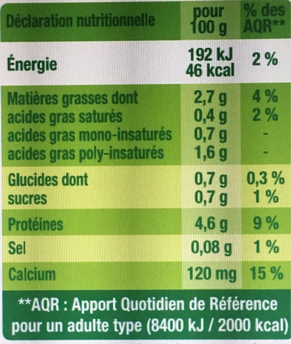 Sojasun nature - Nutrition facts - fr