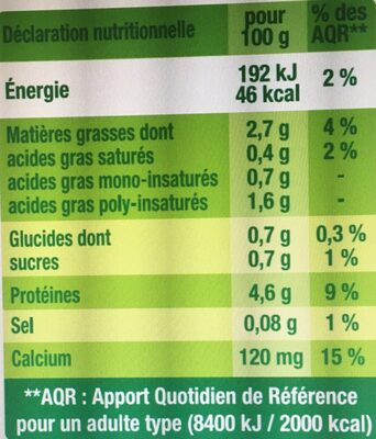 Nature sans sucre - Nutrition facts